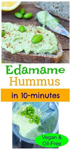 This beautifully vibrant green edamame hummus recipe is bursting with flavor! It makes a delicious dip for veggies or even a spread for sandwiches and wraps.  #veganhummus #oilfreehummus #vegansnack #wfpbsnack Healthy Vegan Snacks, Vegan Appetizers, Delicious Vegan Recipes, Finger Food Appetizers, Finger Foods, Appetizer Recipes, Whole Food Recipes, Snack Recipes, Cooking Recipes