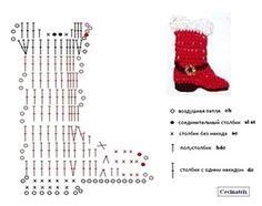 Crochet Christmas Santa Boot  - Chart ❥ 4U // hf