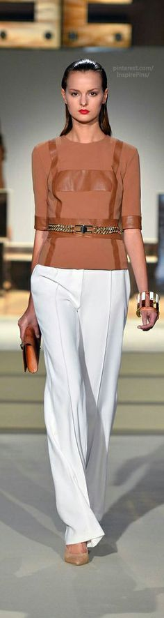 Very fresh - white and neutral. (Elisabetta Franchi SS2014) #spring #workwear #neutrals