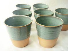 Ceramic cup set seven tumblers Forest series by juliapaulpottery, $90.00