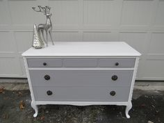 Antique Grey and White Dresser for sale. $375. Message me with any questions or offers. See more furniture at facebook.com/lunarosedesigns