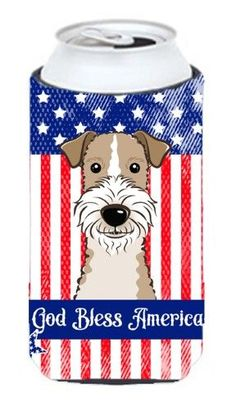 God Bless American Flag with Wire Haired Fox Terrier Tall Boy beverage Insulator Hugger BB2177TBC, Multi