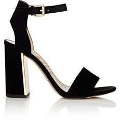 Sam Edelman Women's Synthia Suede Ankle-Sandals ($59) ❤ liked on Polyvore featuring shoes, sandals, black, chunky high heel sandals, ankle wrap sandals, black high heel shoes, black ankle strap sandals and black sandals