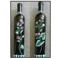 One Stroke Painting - Hand painted wine bottles