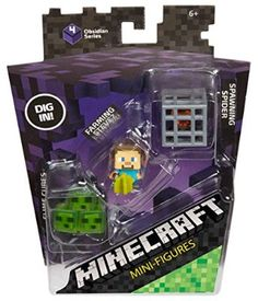 Minecraft Mini Figure 3-Pack, Farming Steve, Spawning Spider & Slime Cubes