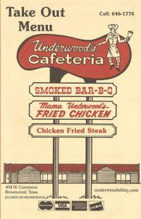 Underwood's Bar-B-Q in Brownwood, TX Hometown! Smoke Bar, Smoke Grill, Steak Fingers, Brownwood Tx, Smoke Tree, Bbq Steak, Guadalupe River, Old Vegas, Bbq Menu