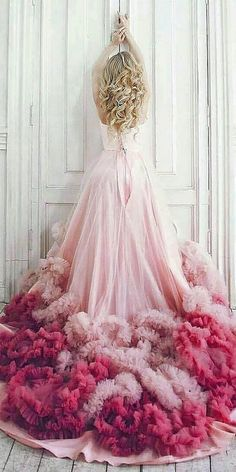 pink ombre ruffles wedding dresses