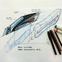 Class demo #boxcutter #designsketching #sketch #industrialdesign #copic #perspective #grip