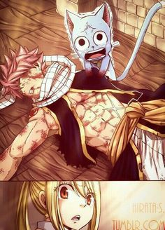 Natsu, Happy, Lucy, sad, crying, text, comic, blood; Fairy Tail