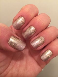 Shellac safety pin with rose gold glitter ombré