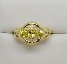 .75 Ct. Natural Yellow Beryl & Diamond Accent Ring 10k Solid Gold NEW Size 7 G87