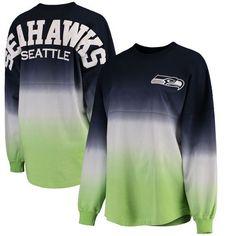 Seattle Seahawks NFL Pro Line by Fanatics Branded Women's Spirit Jersey Long Sleeve T-Shirt - College Navy/Neon Green
