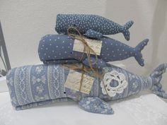 Deko-Objekte - 3 tlg. Set Wal, Meer, Sommerliv maritim- Landhaus - ein Designerstück von mit-Stich-und-Faden bei DaWanda