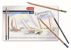 Bruynzeel 36 pk Expression Aquarel Watercolour Pencils with Tin Free Competitions, Artist Pencils, Watercolor Pencils, Watercolour, Drawing Letters, Crafts Beautiful, Coloured Pencils, Painting Lessons, Colorful Drawings