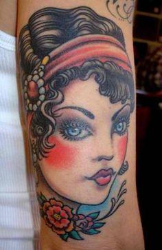 woman tattoo old school
