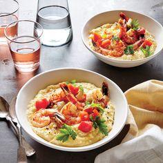 Peppered Shrimp with White Bean and Cauliflower Puree | MyRecipes.com