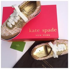 ✨HP💫KS  NEW YORK SYDNEY TWEED JOGGING SNEAKER Playful Kate Spade New York sneakers in a mix of tweed, leather, and glitter coated fabric. Cross grain lace-up closure. Striped sidewall, rubber sole. Sold out everywhere.  NIB (New  in Box) Does include a KS shoe box (not original) and dust bag. (C#1 kate spade Shoes Sneakers