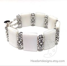 Unique handmade white shell pearl tile and aluminum jump ring chainmaille (chainmail, chain maille) bracelet with magnetic tube slide clasp.