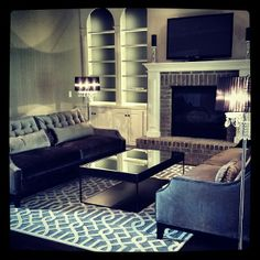 What a refined space by @Design Defined Interiors! Features our Harrison Sofas & Trellis Rug.