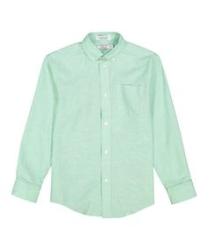 Light Green Oxford Button-Up Top - Boys