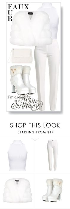 """""""Dreaming of a White Christmas VII"""" by caili ❤ liked on Polyvore featuring WearAll, Basler, Harrods, Karen Millen, fauxfur and fauxfurcoats"""