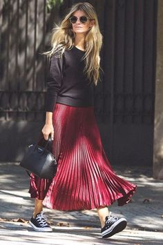 I need a pleated red skirt.