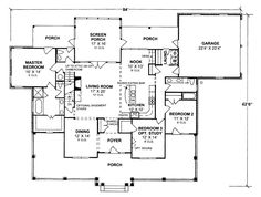 First Floor Plan of Country   Farmhouse  Southern   House Plan 68167