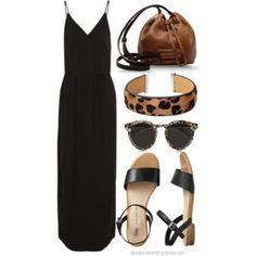 Love the accessories with this black maxi.