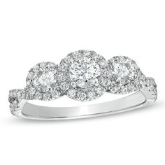 1 CT. T.W. Diamond Three Stone Past Present Future Ring in 14K White Gold - Zales #engagement #ring #wedding