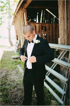 Black Suit and Black Bow tie ~ Mens Fashion ~ Groom Attire ~ Photo: Ashley Gillen Photography