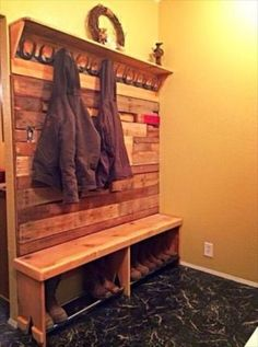It is a very lovely recycled pallet wood item which is perfect for your entrance. You can dangle your coats and jackets on it and put shoes at the racks. We have placed stylish hooks on this pallet wood item. Coat And Shoe Rack, Diy Shoe Rack, Shoe Storage, Shoe Hanger, Boat Storage, Record Storage, Storage Area, Pallet Projects, Home Projects