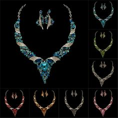 WHOLESALE BRIDAL LADY UNIQUE CRYSTAL NICE STYLING WEDDING PARTY EARRING NECKLACE JEWELRY SET