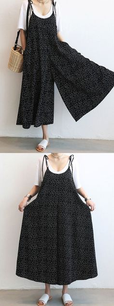 Casual Women Loose Dot Spaghetti Strap Jumpsuits