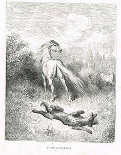 Le cheval et le loup - fable de Jean de La Fontaine illustrée par Gustave Doré - MAS Estampes Anciennes - MAS Antique Prints
