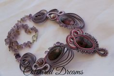 Soutache purple necklace with amethyst