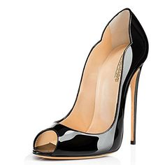 Modemoven Womens Black Patent Leather Peep Toe Pumps Gorgeous Stiletto High Heels Plus Size Wedding Party Shoes  10 M US -- Click image for more details.-It is an affiliate link to Amazon.