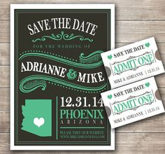 Vintage Blackboard with State Save the Date Announcement PDF File for DIY