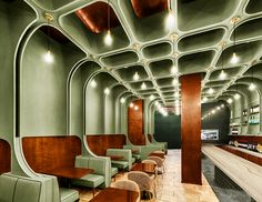 bluarch wraps times square diner with soft green interior in new york Restaurant Interior Design, Top Interior Designers, Bar Interior, Commercial Design, Commercial Interiors, Diner Aesthetic, Greens Restaurant, Co Working, White Paneling
