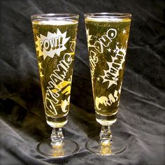 Superhero wedding toasting glasses http://bradgoodell.mysupadupa.com/collections/champagne-flutes/products/dynamic-duo-beer-flutes-comic-book-superhero-wedding-glasses-toasting-glasses