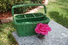 Vintage Chippy Green Wicker Basket with Handle Shabby Chic Cottage Style at Retro Daisy Girl by Shabby Chic Cottage, Cottage Style, Wicker Baskets With Handles, Daisy Girl, Wicker Furniture, Rattan, Bamboo, Retro, Green