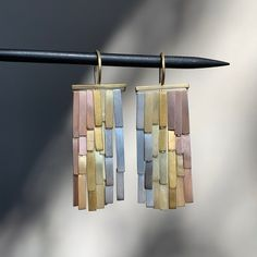 Rainfall earrings in platinum, yellow gold & yellow, rose and white gold by Sia Taylor Earrings Photo, Stud Earrings, Metal Panels, Dots Design, Artisan Jewelry, Handmade Jewelry, Statement Jewelry, Wind Chimes, Wedding Jewelry