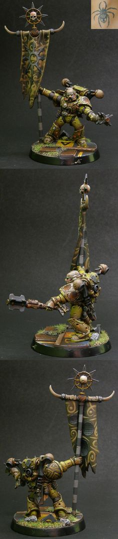 """The Death Guard are one of the Traitor Legions of Chaos Space Marines. They worship and devote themselves exclusively to the Chaos God Nurgle and as a result of his mutational """"gifts"""" they have become Plague Marines; Astartes who are eternally rotting away within their Power Armour and infected with every known form of disease and decay."""