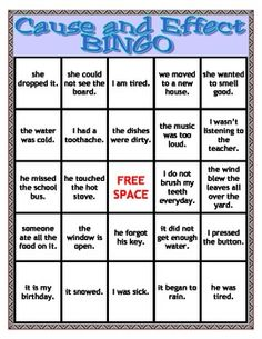 CAUSE AND EFFECT BINGO- SPEECH THERAPY - TeachersPayTeachers.com