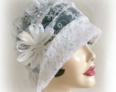 1920's Lacy Wedding Cloche, Flapper Hat, Art Deco, Antique White Lace Embroidered Net, the Alice for Women
