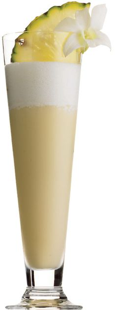 Ingredients:  60 ml vodka  2 tbsp cream of coconut  1 cup pineapple juice  pineapple wedge    Method:  Mix all ingredients, except pineapple wedge, with ice in a blender.  Pour into a highball glass.  Garnish with pineapple wedge.