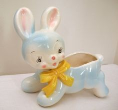 Darling vintage bunny rabbit nursery planter.