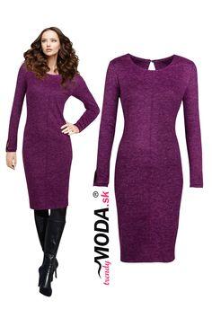 Elegantné fialové úpletové dámske šaty s efektným prešitím v oblasti výstrihu a zaujímavým detailom na rukávoch, Dresses For Work, Formal Dresses, Sweaters, Fashion, Dresses For Formal, Moda, Formal Gowns, Fashion Styles, Formal Dress