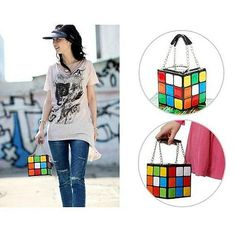 Rubik's Cube Leather Clutch Handbag