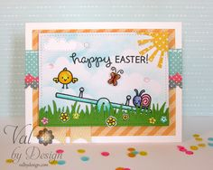 Lawn Fawn - Let's Play, Eggstra Special Easter, Gleeful Gardens, Spring Showers Lawn Cuts, Grassy Border, Stitched Rectangle Stackables, Let's Polka 6x6 paper, Lemon Line Dance 12x12 paper _ super cute Easter card by Valerie via Flickr - Photo Sharing!
