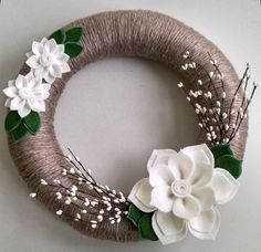 Winter wreath, felt flower wreath, yarn wrapped wreath, berry wreath, holiday wreath, year round wreath, door decor, winter wedding by madymae on Etsy https://www.etsy.com/listing/208310982/winter-wreath-felt-flower-wreath-yarn